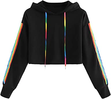 Thenxin Womens Autumn Sweatshirts Letter Print Long Sleeve Drawstring Pullover Hoodies Tops