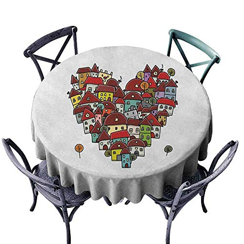 G Idle Sky City Fabric Dust-Proof Table Cover Love Heart Shaped Sketch Style Buildings Neighborhood Colorful Retro Illustration Indoor Outdoor Camping Picnic D55 Multicolor