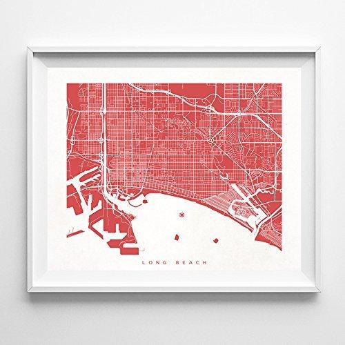 Long Beach California Street Road Map Poster Wall Art Print Modern City Art  Urban Home Decor Unique Artwork UNFRAMED