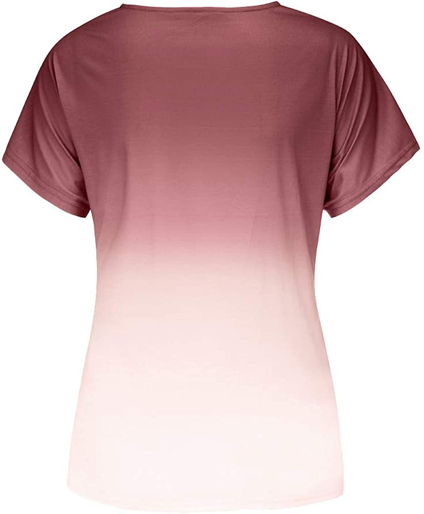 WYTong Summer t-Shirt For Women Fashion Plus Size Gradient Color v-Neck Short Sleeve t-Shirt Tops Blouse