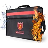 Fireproof Document Bags, Fireproof Bags Large Document Pouch Money Bag with Reflective Strip and Shoulder Strap Water Resistant for Important Documents, iPad, Money, Jewelry, Passport Storage