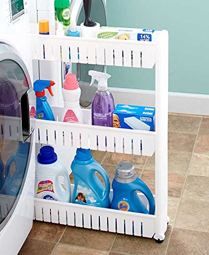 - White Slim Rolling Cart Space Saver Organizer Shelf Storage Bathroom Laundry Organization Fits Between Cabinets Washer and Dryer