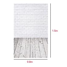 OMG_Shop 3X5ft Vinyl White Brick Wall Photography Backdrop Light Grey Wood Floor Photo Backgrounds for Children