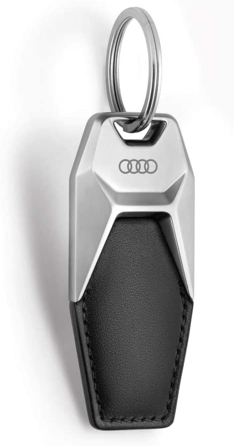 Audi 3181900600 Keyring Rings Logo Metal Leather Pendant Keyring Black//Silver