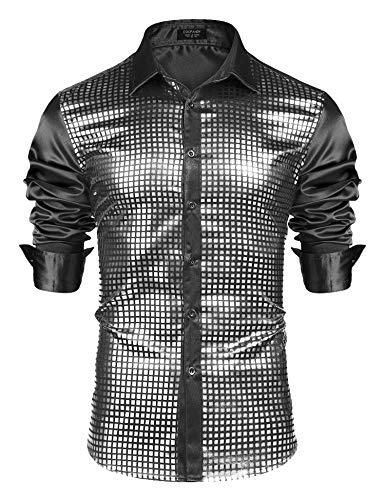 COOFANDY Men's Silver Sequin Dress Shirts Long Sleeve 70s Disco Party Prom Costume Button Down Shirts