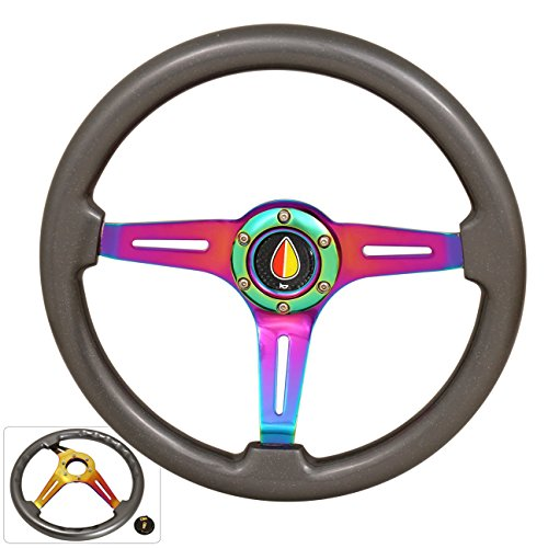 345MM 6 Bolt Hole Neo Chrome Center Gun Metal Wood Trim 3 Spokes Steering Wheel Koreisha Horn Button Godsnow