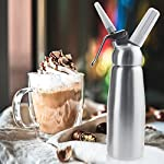 Professional Whipped Cream Dispenser Large 500ml/1 Pint Capacity Canister with 3 Various Nozzles, Cleaning Brush 12 HOME OR PROFESSIONAL: No more hand cramps from whipping, this whipped cream dispenser does all the work for you - just put a nitrous oxide cartridge (sold separately) into the dispenser, fill with heavy cream, screw the top and you are in business, an ideal whipped cream maker for home or professional use. DURABILITY AND SAFETY: The whipped cream dispenser's all-aluminum body and head are durable and safety to withstand daily use. The matte aluminum finish looks classic and provides a secure grip. PROFESSIONAL-QUALITY CREAM WHIPPER: Made of high quality commercial grade aluminum with stainless steel piston and reinforced aluminum threads for dispensing pretty clouds of whipped cream with different designs onto ice cream, cakes, pies, puddings and more.