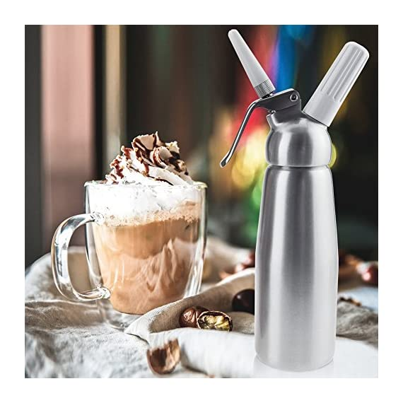 Professional Whipped Cream Dispenser Large 500ml/1 Pint Capacity Canister with 3 Various Nozzles, Cleaning Brush 6 HOME OR PROFESSIONAL: No more hand cramps from whipping, this whipped cream dispenser does all the work for you - just put a nitrous oxide cartridge (sold separately) into the dispenser, fill with heavy cream, screw the top and you are in business, an ideal whipped cream maker for home or professional use. DURABILITY AND SAFETY: The whipped cream dispenser's all-aluminum body and head are durable and safety to withstand daily use. The matte aluminum finish looks classic and provides a secure grip. PROFESSIONAL-QUALITY CREAM WHIPPER: Made of high quality commercial grade aluminum with stainless steel piston and reinforced aluminum threads for dispensing pretty clouds of whipped cream with different designs onto ice cream, cakes, pies, puddings and more.