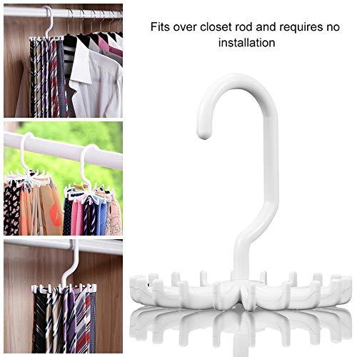 Rotating Tie Rack Adjustable Tie Hanger Holds 20 Neck Ties Organizer Men for Closet Rotating Hook Holder Belts Scarves Hanger