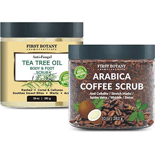 100% Natural Arabica Coffee Scrub 10 oz andTea Tree Oil Body Scrub and Foot Scrub 10 oz