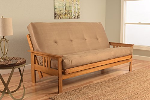 Kodiak Furniture KFMOBTSPEATLF5MD3 Monterey Futon Set with Butternut Finish, Full, Suede Peat by Kodiak Furniture