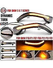QKLsudua 2 st dynamisk sekventiell blinkning kompatibel med BMW 5 6 7-serien F10 F11 F07 F06 F12 F13 F01 LED sidospegel blinkersljus montering