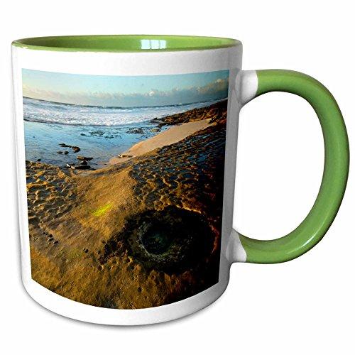 3dRose Danita Delimont - Beaches - USA, California, La Jolla. Tide pools and ocean. - 11oz Two-Tone Green Mug (mug_278559_7) (Table Cover 7 Wave Pool)