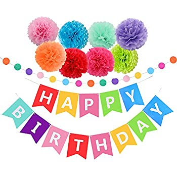 amazon com felt birthday banner pack colorful kids birthday party