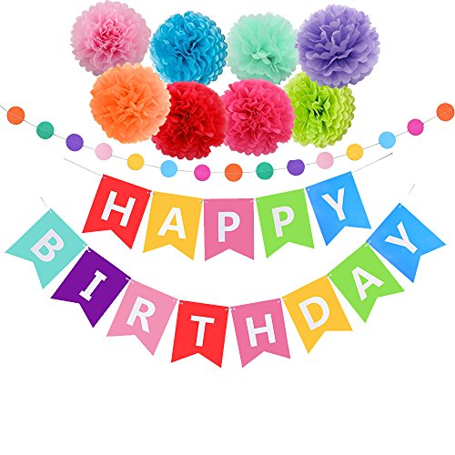 (Threemart Happy Birthday Decorations Banner with Tissue Pom Poms for Rainbow Birthday Party)