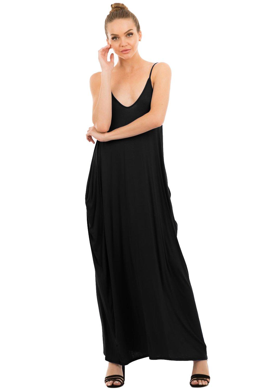 Love In D5883 Full-Length Harem Spaghetti Strap Maxi Dress with Pockets Black S