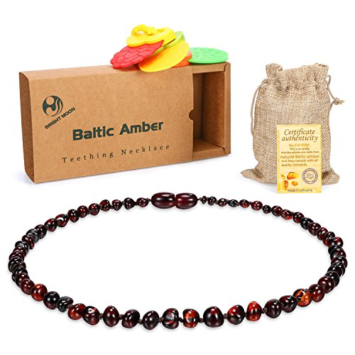 Cherry Baltic Amber Teething Necklace-Bright Moon HP24 (Unisex) For Babies Anti Flammatory, Drooling & Teething Pain Reduce Properties Natural Certificated Oval Baltic Jewelry with Highest Quality (Baltic Cherry)