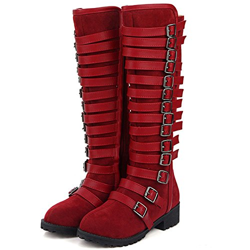 Classic Wine High Strappy COOLCEPT Boots Flat for Party Red Knee Women Ox5nq6