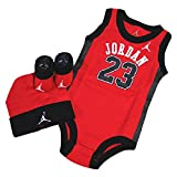 NIKE (Nike) 【IBSP 524】 Jordan 3 PIECE INFANT SET Romper Cap Shoes 3 Piece Set RED × BLK 1 SIZE
