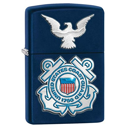 Coast Guard Navy Matte Zippo Outdoor Indoor Windproof Lighter Free Custom Personalized Engraved Message Permanent Lifetime Engraving on Backside ()