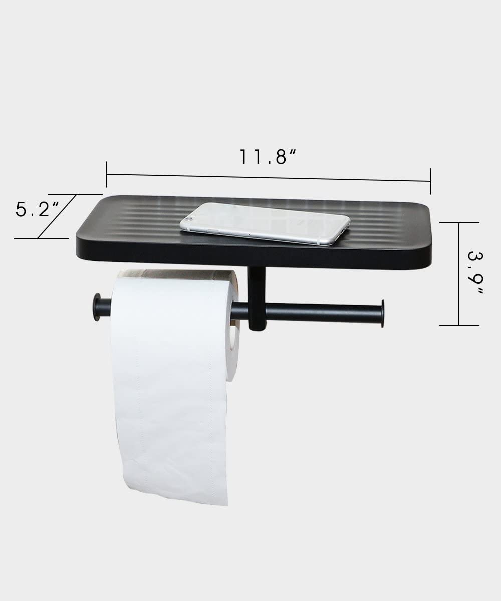 crw Double Toilet Paper Holder with Shelf Stainless Steel Commercial Tissue Roll Dispenser Phone Bathroom Brushed Nickle Wall Mounted Rustproof
