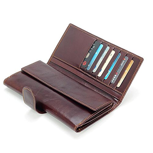 Brown Multifunction Fold WALLETS Long Section High Capacity Wallet Men Card Dark Honey Package 7gUYwxw
