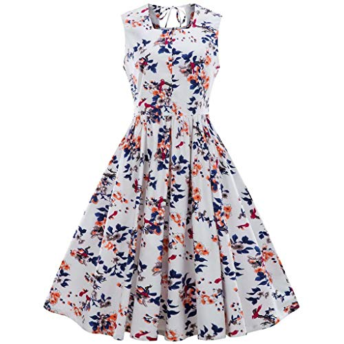 Women Plus Size Vintage Dress Ladies Retro Sleeveless Floral Print Bandage Cockrail Party Elegnat Swing Dress ()