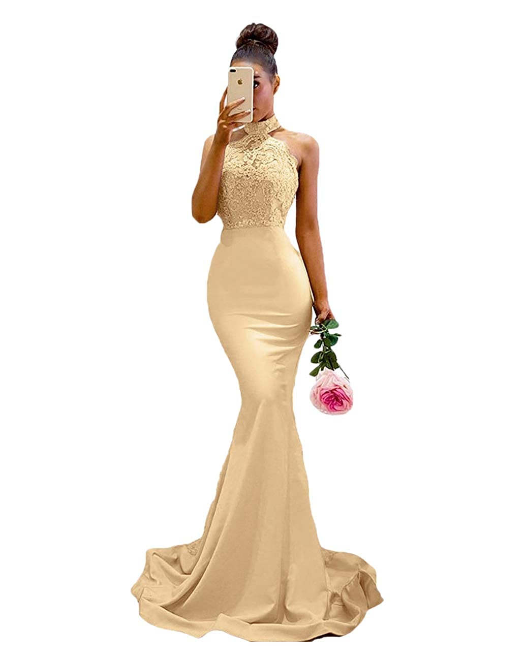 Champagne BridalAffair Women's Halter Neck Mermaid Appliques Lace Long Bridesmaid Dress Formal Party Gown for Wedding