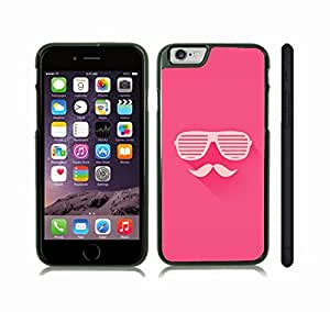 iStar Cases? iPhone 6 Plus Case with Mustache and Shutters Design on Hot Pink Background , Snap-on Cover, Hard Carrying Case (Black)