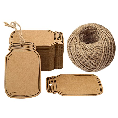Jar Tags - Mason Jar Shaped Tags,100PCS Kraft Paper Gift Tags with 100 Feet Jute Twine,2.9