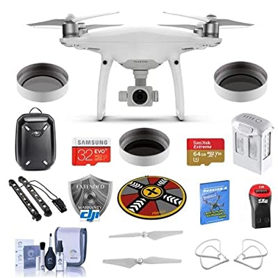 "DJI Phantom 4 Pro+ Pro KIt - Bundle with DJI Plastic Case, 64/32GB MicroSDXC Card, Spare Battery, Quick-Release Propellers, Propeller Guard, 32"" Collapsible Pad, Polar LED Light Bars, More"