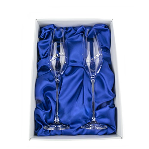 Hand Made Champagne Flutes Glasses with Genuine Swarovski Crystals, Set of 2, Lead Free (Samantha)