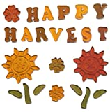 Greenbrier Fall Harvest Reusable Gel Window Clings ~ Happy Harvest, Sunflowers, Leaves, Flower Heads (23 Clings, 1 Sheet)