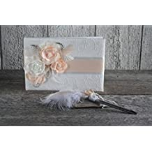Coral and ivory wedding lace guestbook with pen set, Satin and lace guestbook, Shabby Chic guestbook pen set, Guestbook vintage english version, Livre d'or, Livre d'or mariage, Livre de signatures, Livre d'invités