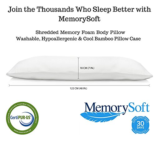 MemorySoft Luxury Memory Foam Body Pillow, Shredded Memory Foam with Thin Memory Foam Shell - Washable, Hypoallergenic and Cool Bamboo Case