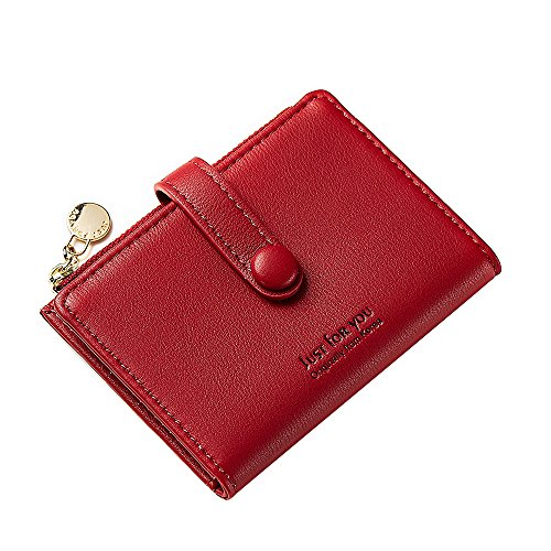 Women Soft Leather Short Wallet Card Holder Change Cash Organized Large Capacity Zipper Buckle Travel Coin Purse with ID Window (Red) by KESONA (Image #2)