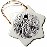 3dRose Sandy Mertens Halloween Food Designs - Halloween Scarecrow Line Art - 3 inch Snowflake Porcelain Ornament (orn_6204_1)