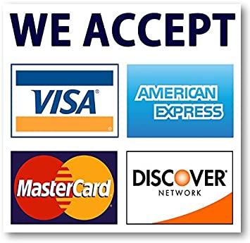 "We Accept Credit Cards AmEx Visa MasterCard Discover Decals Sticker Logo  Sign for Stores & Businesses (113.113"" x 113.113"")"