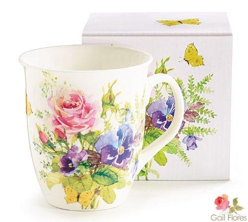 Abundant Flowers White Porcelain Mug