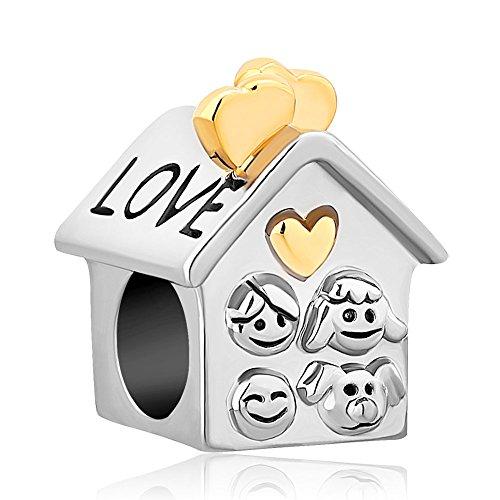 (ReisJewelry Heart I Love My Family Charm Dad Mom Sister Dog Charms Bead For Bracelets (Love House))