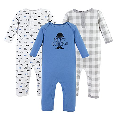 Hudson Baby Cotton Union Suit, 3 Pack, Gentleman, 0-3 Months