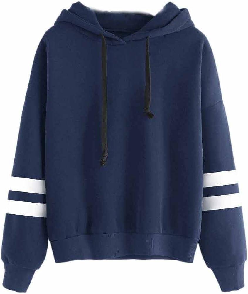 Women Teen Girl Stripe Print Loose Hoodie Sweatshirt Long Sleeve Pullover Top Blouse