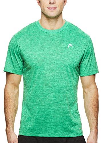 (HEAD Men's Crewneck Gym Training & Workout T-Shirt - Short Sleeve Activewear Top - Spacedye Celtic Green Heather, 2X)