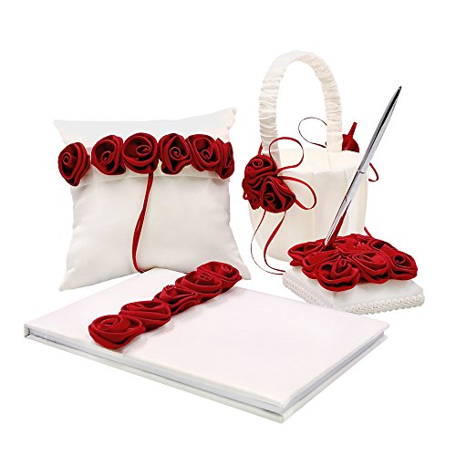 (Abbie Home Satin Rose Decor Wedding Guest Book + Pen + Pen Stand + Flower Basket + Ring Pillow Set Romantic Beach Wedding Party Favor (Full Set))
