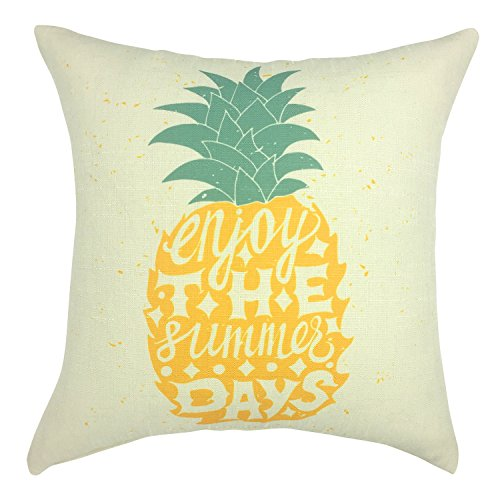 YOUR SMILE Pineapple Cotton Linen Decorative Throw Pillow Case Cushion Cover Pillowcase for Sofa 18 x 18 Inch,Beige