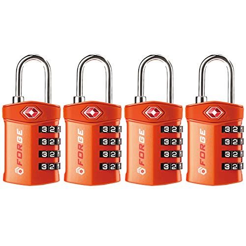 4 Digit TSA Approved Luggage Lock, 4 Pack Orange, Inspection Indicator, Alloy Body