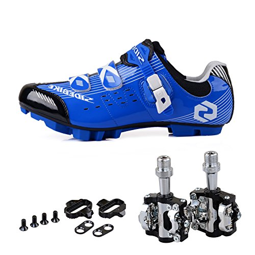Men Women Mountain Bike Cycling Shoes and Pedals (Blue-Black + Black,US12/EU45/Ft28.5cm)