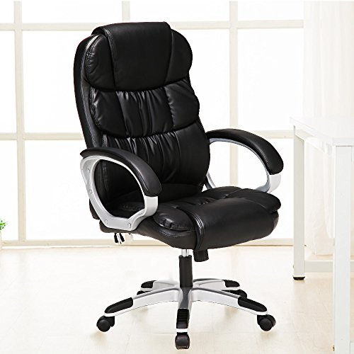 Massage Chair 6 Vibrating Executive Ergonomic Computer Office Comfortable Electric Chairs (Black)