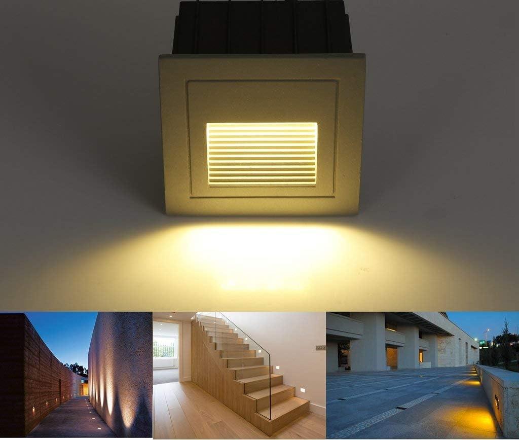 SUBOSI - Luz LED para escaleras, Aluminio, 230 V, 3 W, Cristal, lámpara de Pared, luz de Escalera, con Caja empotrada, luz de Escalera, lámpara de Pared, IP65, Resistente al Agua, Blanco