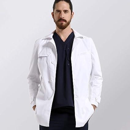 QZHE Ropa médica Bata Blanca De Laboratorio para Damas, Hombres, Uniformes Médicos, Bata